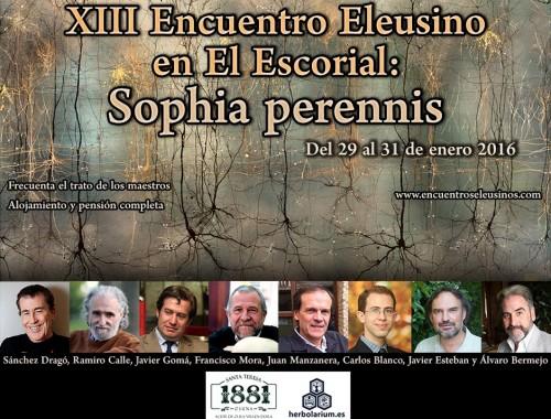Programa del XIII Encuentro Eleusino en El Escorial: 'Sophia perennis'